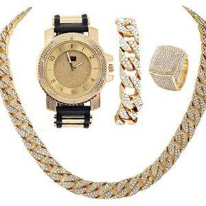 Mens uban Chain Bracelet, Cuban Necklace & Ring